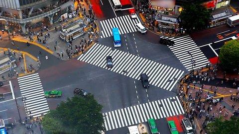 Tokyo's Shibuya pedestrian crossing also known as Shibuya scramble