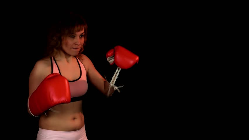 Cute Young Woman Training With Red Boxing Gloves 4k Stock Footage Clip