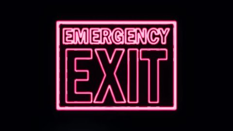 Emergency Exit Neon Sign Lighting Up