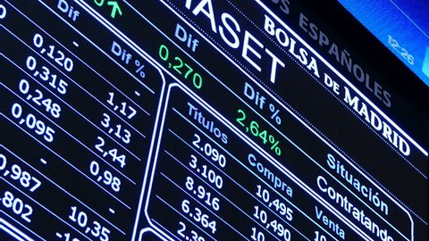 Madrid Stock Exchange (Bolsa de Madrid). Stock information panels. Filmed in April 2016.