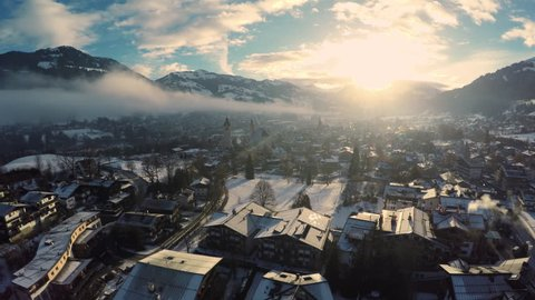 Aerial shot of Kitzbuehel at sunrise in winter