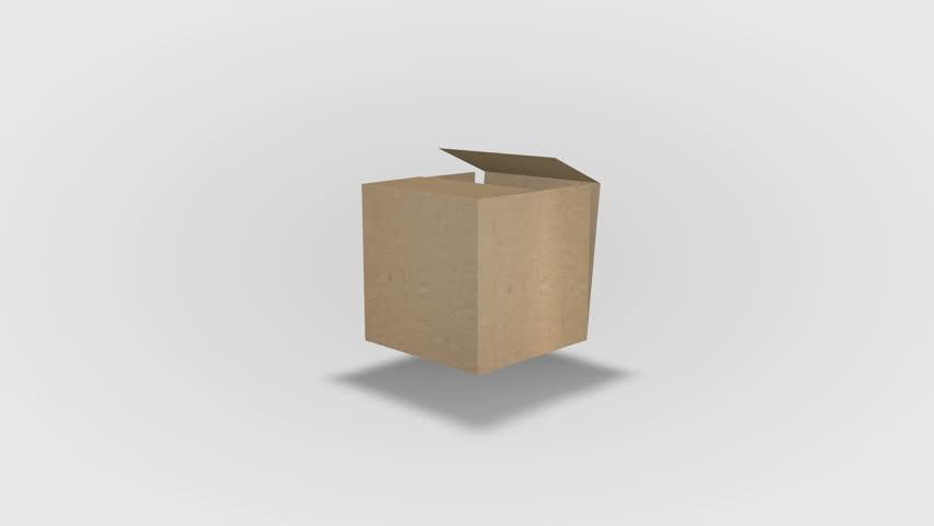 Folding cardboard box. Loop animation folding a cardboard box
