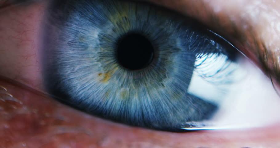 Close-up Macro Shot of male Human blue green Eye Blinking  #16056268