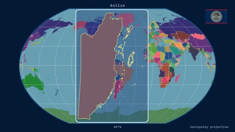 Zoomed-in view of a Belize outline with perspective lines against a global admin map in the Kavrayskiy VII projection