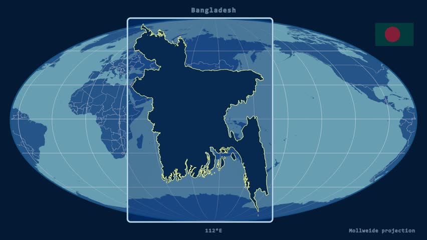 Japan Shape Animated On The Admin Map Of The Globe Stock Footage - Japan map projection
