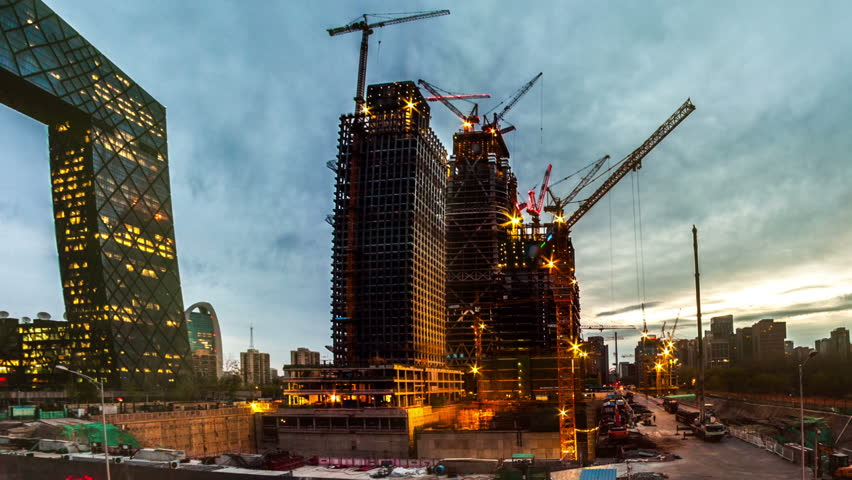 China Zun, is a supertall skyscraper under construction in the Central Business District of Beijing. One of many construction sites in Beijing. Timelapse.  | Shutterstock HD Video #16075918