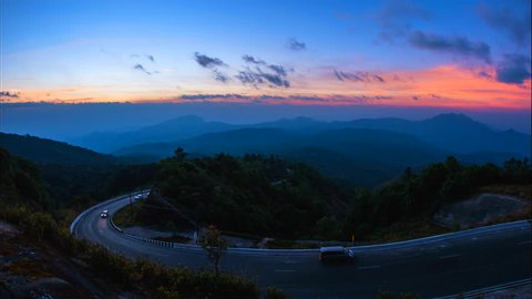 4K. Time lapse Viewpoint the sun and cloud whit the beautiful road of Doi Inthanon National park at Chiang Mai Province, Thailand