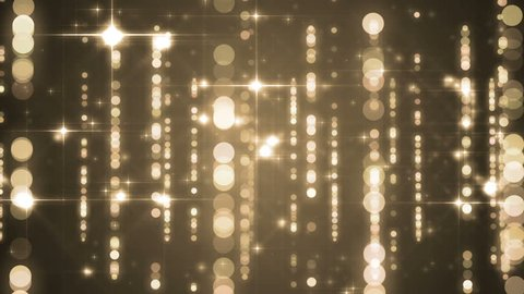 Lights gold bokeh background. Elegant gold abstract. Disco background with circles and stars. Christmas Animated background. loop able abstract background circles.