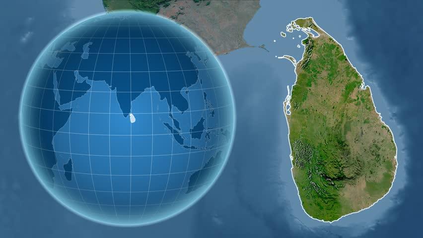 Sri Lanka Shape Animated On The Satellite Map Of The Globe Stock - Hd satellite map