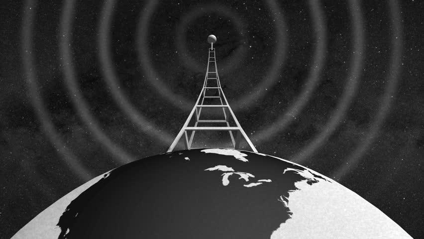 Retro Radio Tower on rotating globe and emitting radio waves - close lower shot - In 4k