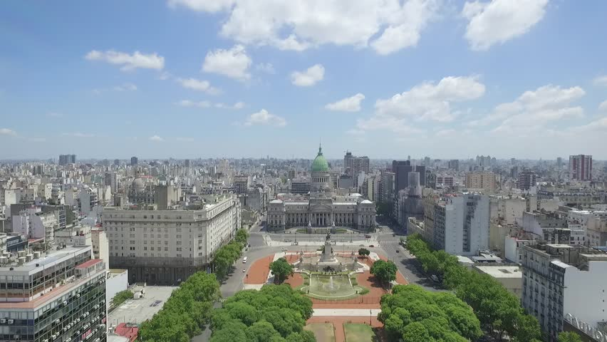 Aerial drone scene of Congress of the Argentine Nation. The camera is going to Congress and travels above the Crongress Square. City landscape, historic building. Buenos aires-Argentina | Shutterstock HD Video #16127989