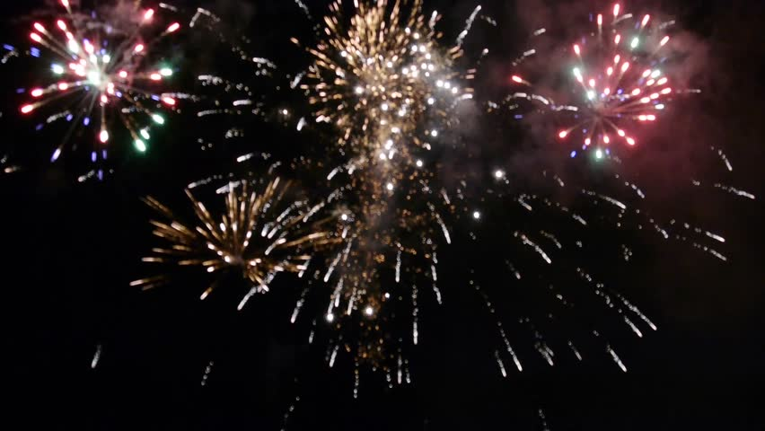 Hd00:19Spectacular Firework Display Finale Against Black Night Sky. Audio  Track Included.