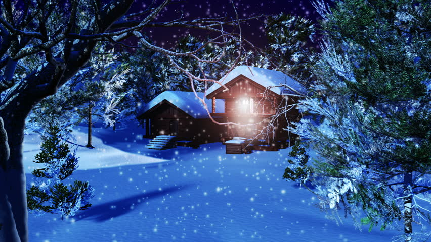 Christmas Snowy Scene 3D animation Dolly Motion