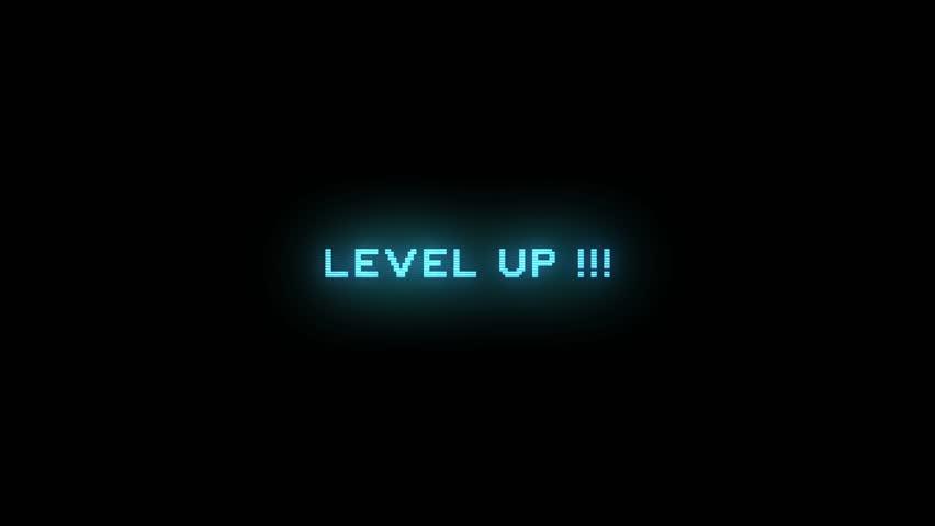 LEVEL UP ELECTRIC BLUE ANIMATION / LEVEL UP STYLE 1 / Level Up Text Glitching in electric blue color