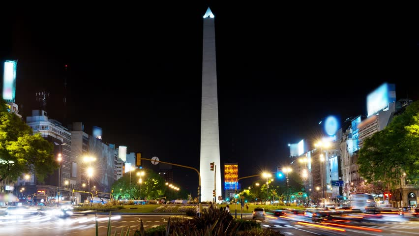 Buenos Aires at night, time lapse.