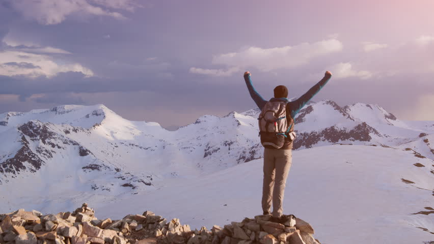 Young Hiker On Mountain Peak At Sunset Successful Pose Outstretched Arms Business Life Achievement Concept