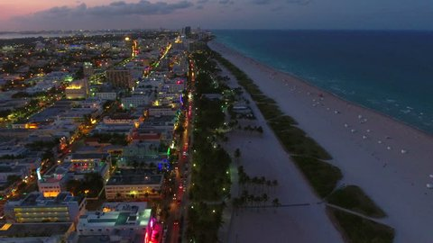 Drone footage Miami Beach at dusk