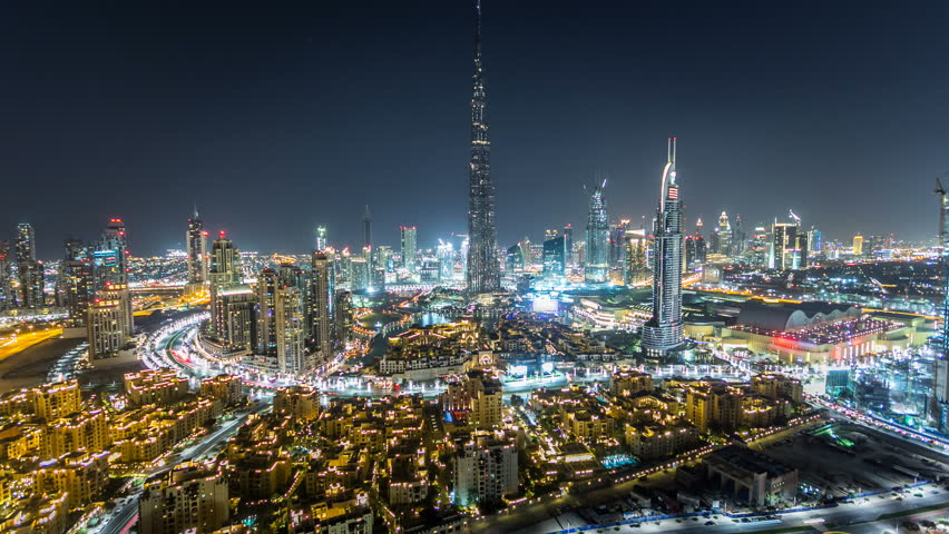 Dubai Downtown at night timelapse view from the top in Dubai, United Arab Emirates | Shutterstock HD Video #16295998