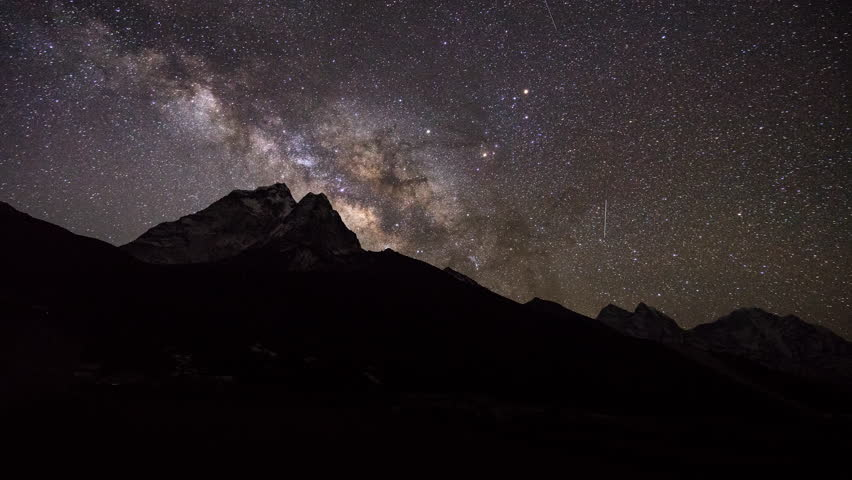 Milky way and shooting stars over the mountains in the Himalayas,Night sky time lapse,Astrophotography,Milky way and meteor landscape.