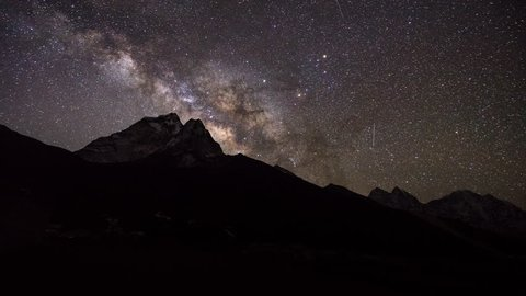 Milky way over mountain timelapse.Mountain peak time lapse.Milky way Galaxy observatory nighttime.starry night scenic landscape.Space in universe moving over mountain.