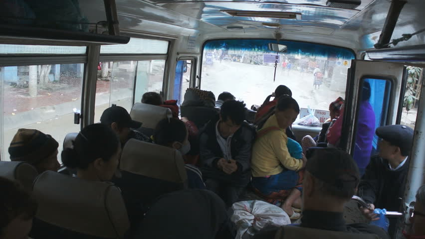 BAC HA, VIETNAM - FEBRUARY 23, 2013: tourists in the local bus in the Bac Ha, Vietnam. | Shutterstock HD Video #16310380