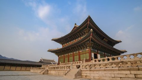 Timelapse at Gyeongbokgung Palace, Seoul, South Korea, 4K Time lapse