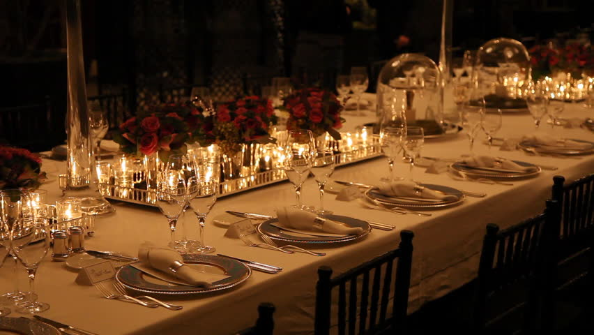 Dinner Setting elegant candlelight dinner table setting at reception stock