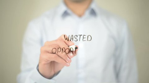 Wanted Opportunity, Man Writing on Transparent Screen