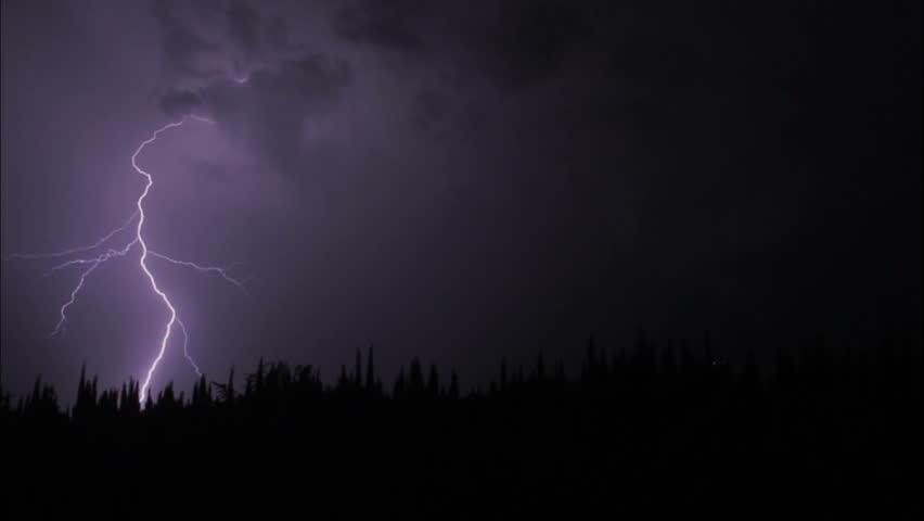 thunderstorm at summer night, thunder and lightning