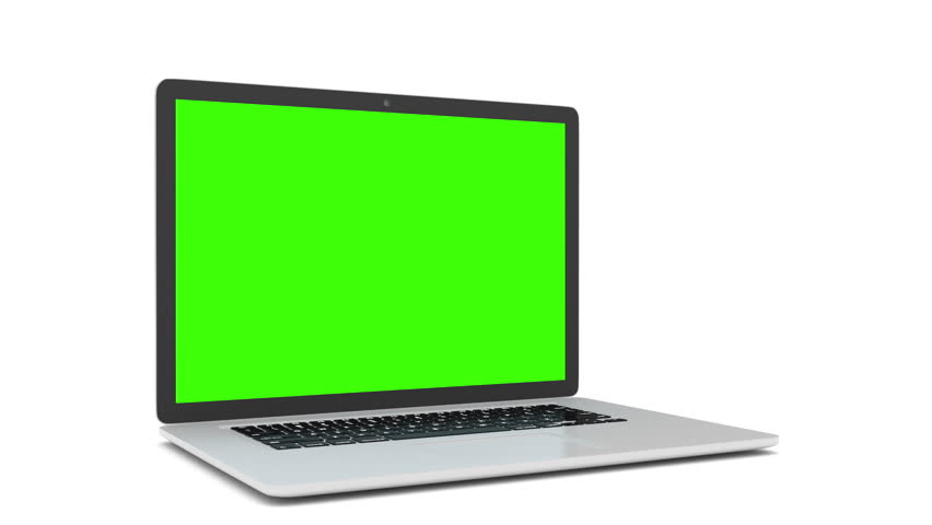 Isolated laptop with green screen on white background. Camera rotating around notebook. Template empty green screen. #16377718