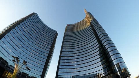 MILAN, ITALY, MAY 04 2016: New district of Porta Nuova Garibaldi - The Unicredit tower It is the second tallest building in Italy.