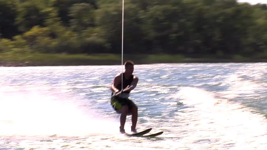 A water-skier crashes in the water while trying to do a risky trick. - Slow Motion - Model Released - HD - filmed at 59.94 fps - Clip is HD 1920 x 1080