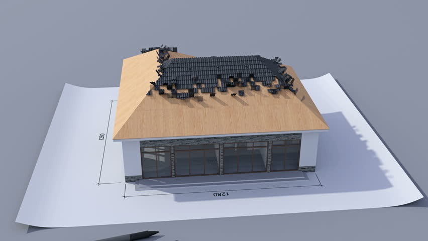 Building a house with a hip roof. Time-lapse 3d animation of house construction - from the blueprints to installation of the roof with pantile roof tile. Top view. 4K #16426606
