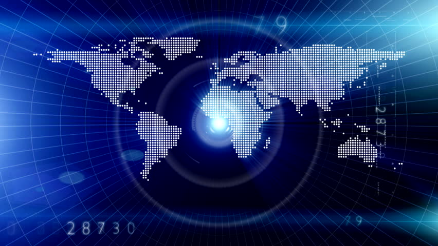 Earth technology background loop animation of globe rotating with technology world map in the - Digital world hd ...