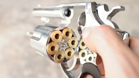 Spinning The Gun or Pistol or Revolver by Finger and Hand. Human is spinning or rotating the revolver or gun or pistol by hand and finger