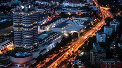 time lapse munich BMW building at night, Zeitraffer BMW München bei Nacht