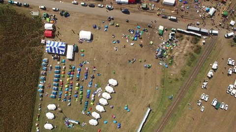 Aerial shot of refugee camp in Hungary, 2015. September. Flight over of tent city, Hungarian - Serbian border.