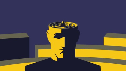 Brain maze. Male open head with labyrinth inside. Looped animation.