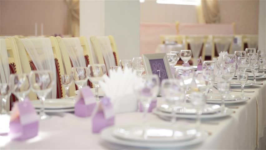 Stock video of decorated table for a wedding dinner, | 16544218 ...