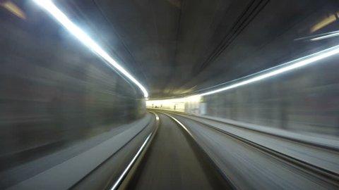 4K footage of a Vienese Underground tram going along its rail