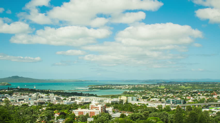 Time Lapse - Ariel View of Downtown Auckland, New Zealand | Shutterstock HD Video #16566178