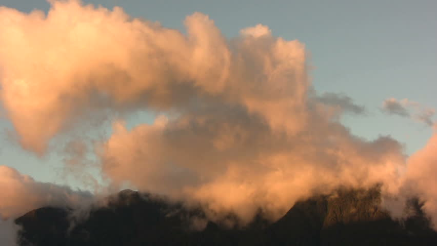 Clouds moving past the summit of Tungurahua Volcano, Ecuador