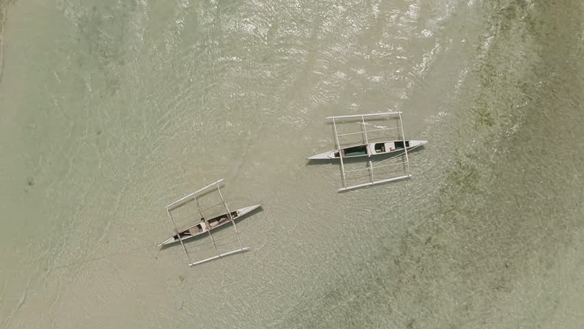 Fishing Boat Aerial View Philippines Anda City Stock Footage