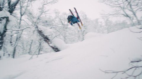 Skier Does a Backflip off of a Jump in Hokkaido, Japan