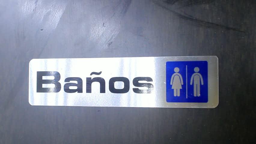 Bathroom Signs Spanish bathroom sign stock footage video | shutterstock