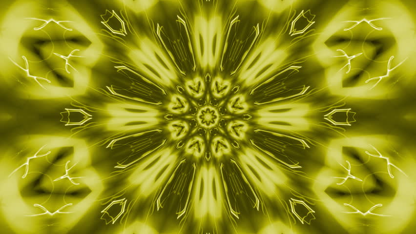 Golden rotating starlike swirl, kaleidoscopic seamlessly looping flame fractal animation