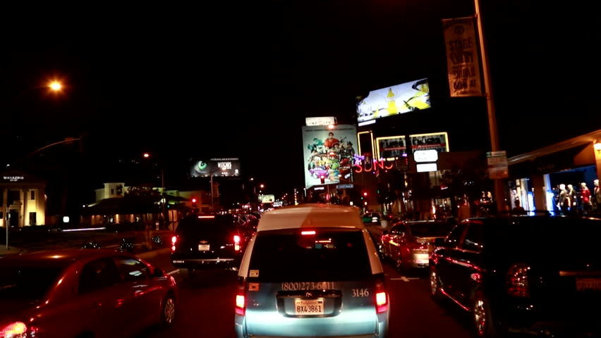 Los Angeles, California - USA - August, 2013: Shaky camera driving sunset strip at night. | Shutterstock HD Video #16704238