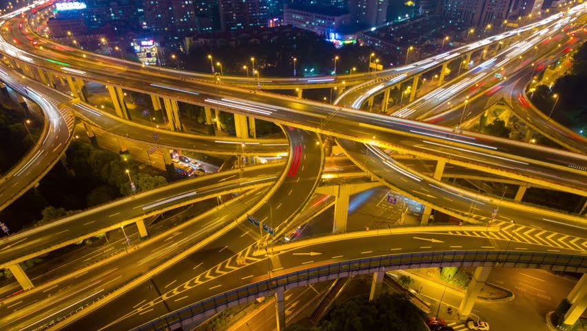 Shanghai Yanan overpass highway in night....