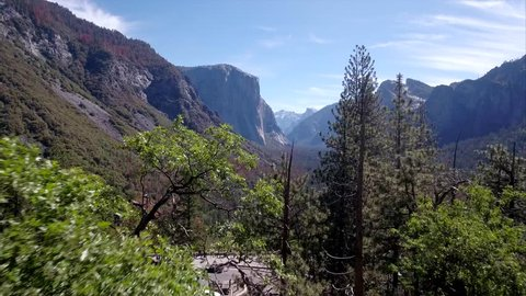 Tunnel view to the waterfall from drone in Yosemite national park