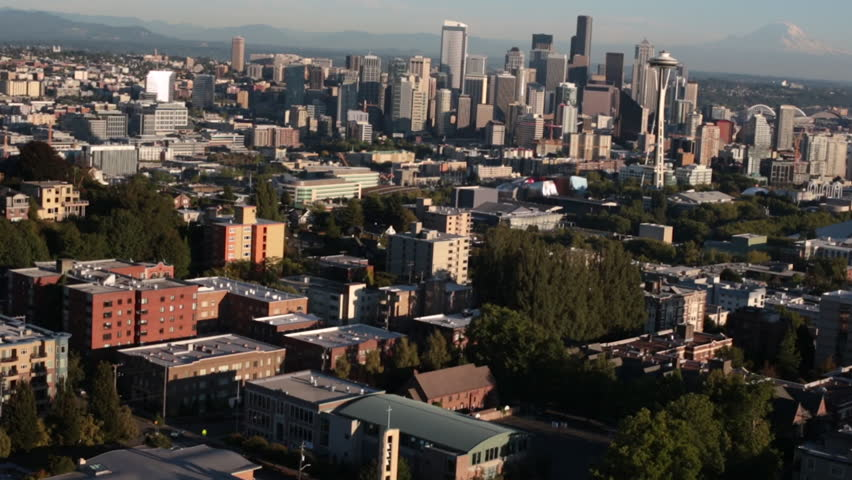 Aerial Seattle Downtown Cityscape View Skyscapers Mt Rainer
